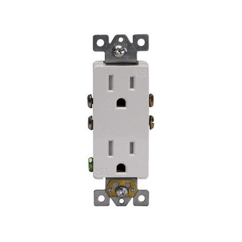 15 Amp Tamper Resistant Decora Duplex Receptacle, White
