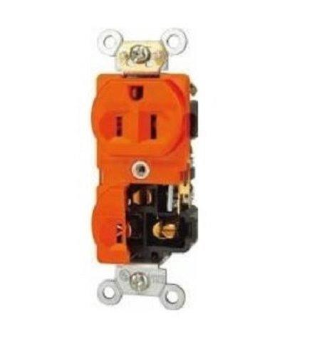 Orange Isolated Ground Industrial Grade Duplex Receptacles