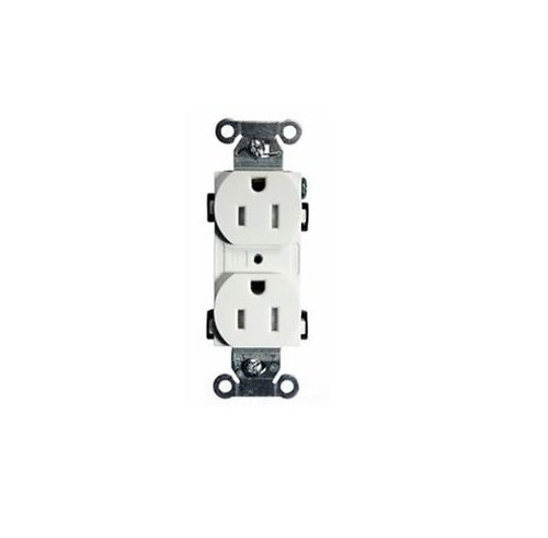 White Straight Blade Commercial Grade Duplex Receptacle