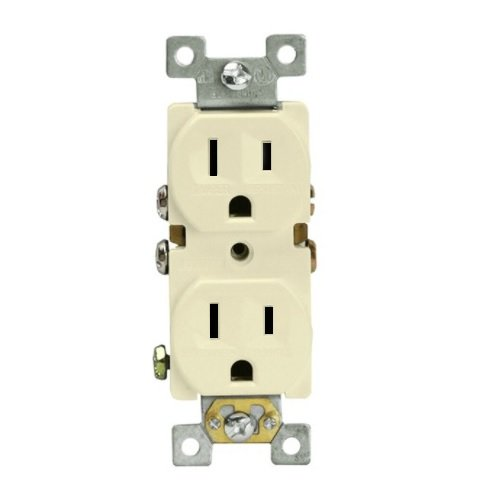 Almond Push-in & Side Wired Residential Self-Grounding Duplex Receptacle