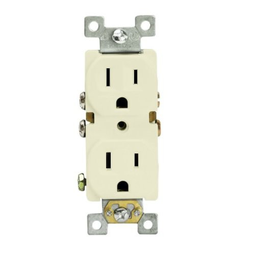 Light Almond Push-in & Side Wired Residential Self-Grounding Duplex GFCI