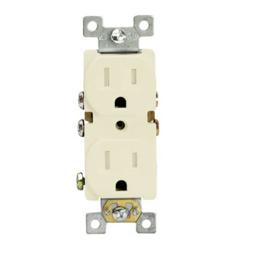 Light Almond Push-in & Side Wired Self-Grounding Tamper Resist Duplex GFCI