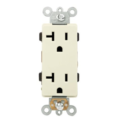 Light Almond Push-In and Side Wired Residential Grade 20A Receptacle