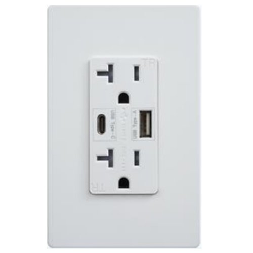 Ultra-High Speed Dual USB Charger 20A Duplex Tamper Resistant Receptacle