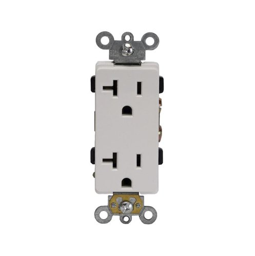 20 Amp Push-In and Side Wired Decora Receptacle, White