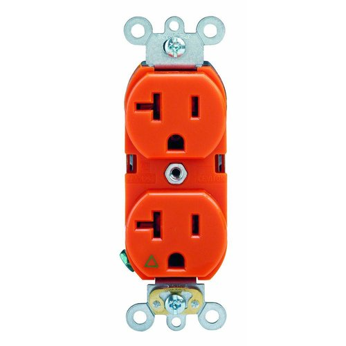 Ivory Isolated Ground Industrial Grade 20A Duplex Receptacle