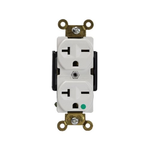 White Hospital Industrial Straight Blade 20A High Voltage Duplex Receptacle