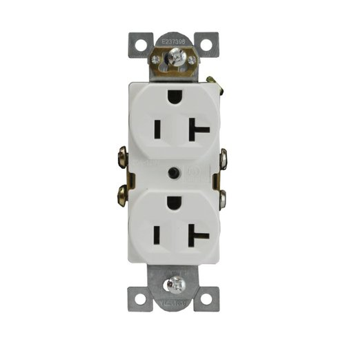20 Amp Residential Grade Duplex Outlet Receptacle, White