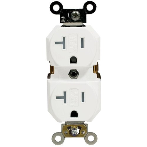 White Commercial Grade Tamper Resistant 20A Duplex Receptacle