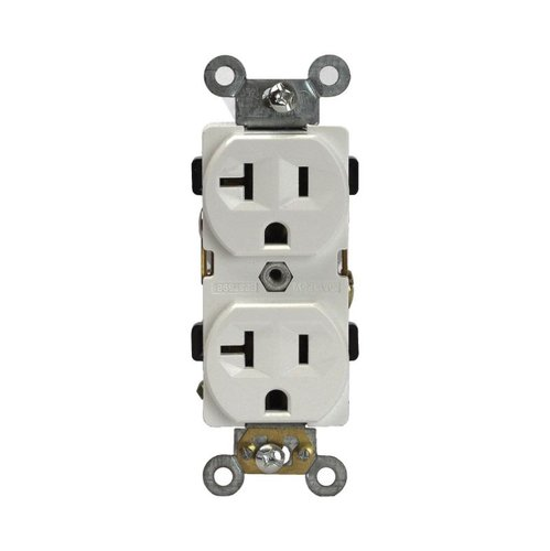 Ivory Industrial Grade Tamper Resistant 2-Pole 20A Duplex Receptacle