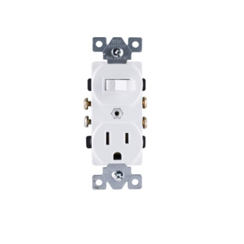 15 Amp Single Pole Toggle Switch w/ Tamper Resistant Receptacle, White