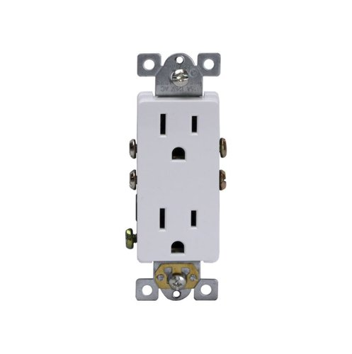 White Industrial Grade Decorator 15A Duplex Receptacle