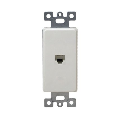 Almond Molded-In Voice and Audio/Video RJ11 Jack Wall Outlet
