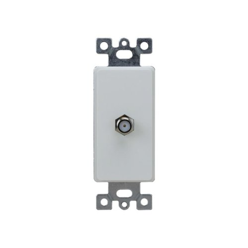White Molded-In Voice and Audio/Video Duplex RJ11 Jack Wall Outlet