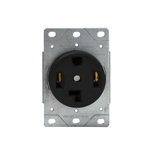 Black Industrial Grade Power Devices Flush-Mount Receptacle