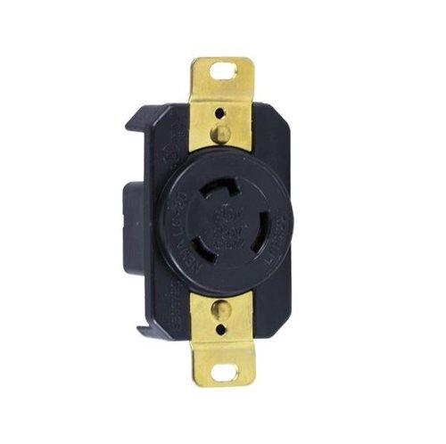 Black Industrial Grade 20A Locking High Voltage Receptacle