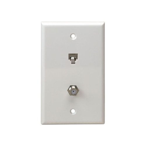 Almond Telephone and CATV 1-Gang Plate F-Type Connector and RJ11 Wall Jack