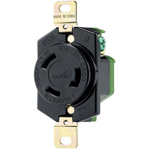 Black Industrial Grade 30A 2-Pole Locking Receptacle