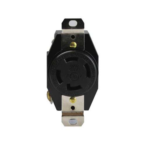 Black Industrial Grade 30A 3-Pole Locking High Voltage Receptacle