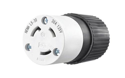 Black Industrial Grade 30A 3-Pole Locking High Voltage Cord Connector