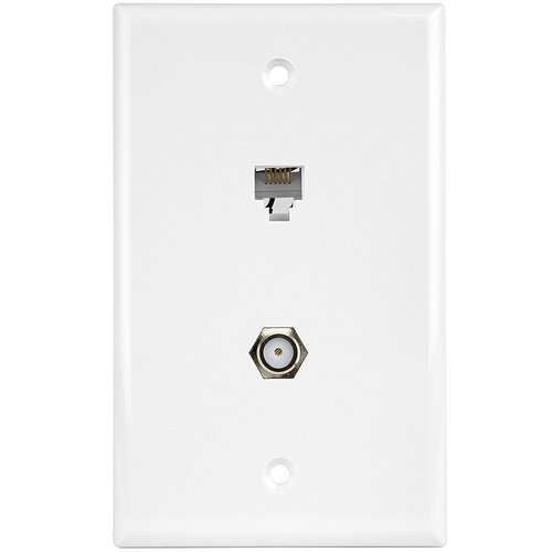 White Telephone and CATV 1-Gang Plate Duplex F-Type Connector and RJ11 Jack
