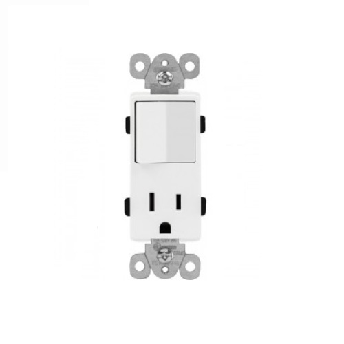 15 Amp Combination Decorator Switch and Tamper Resistant Receptacle, White