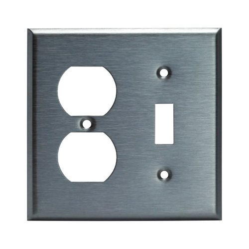 Over-Size Stainless Steel 2-Gang Combined Toggle and Duplex GFCI Wall Plate