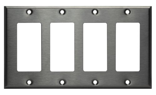 Stainless Steel 4-Gang Single GFCI Metal Wall Plate