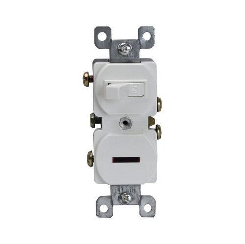 Two Ivory Single-Pole Side-Wired Only 15A Switches w/ Pilot Light