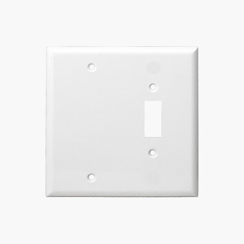 White Combination Two Gang Blank and Toggle Plastic Wall Plates