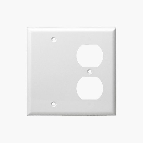 White Combination Two Gang Blank and Duplex Receptacle Plastic Wall Plates