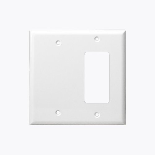 White Combination Two Gang Blank and GFCI Plastic Wall Plates