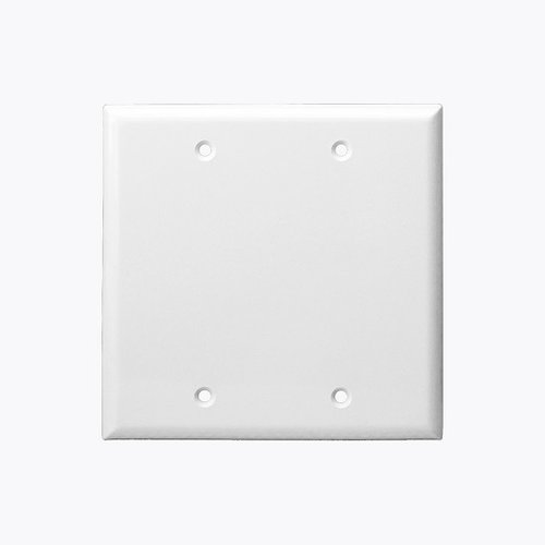 White Mid-Size Thermoplastic Two-Gang Blank Wall Plate