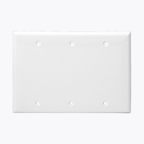 White Colored Thermoplastic Three-Gang Blank Wall Plate