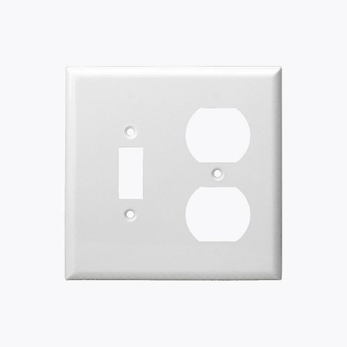White Combination Two Gang Toggle and Duplex Receptacle Plastic Wall Plates