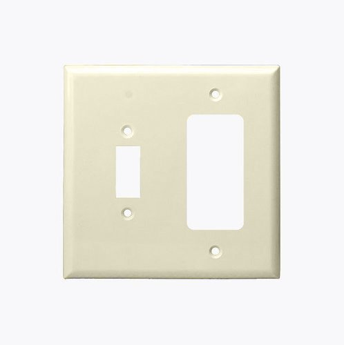 Almond Combination Two Gang Toggle and GFCI Plastic Wall Plates