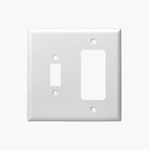 Light Almond Combination Two Gang Toggle and GFCI Plastic Wall Plates