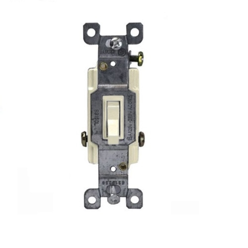 Light Almond Single-Pole Push-In and Side Wired 15A Toggle Switches