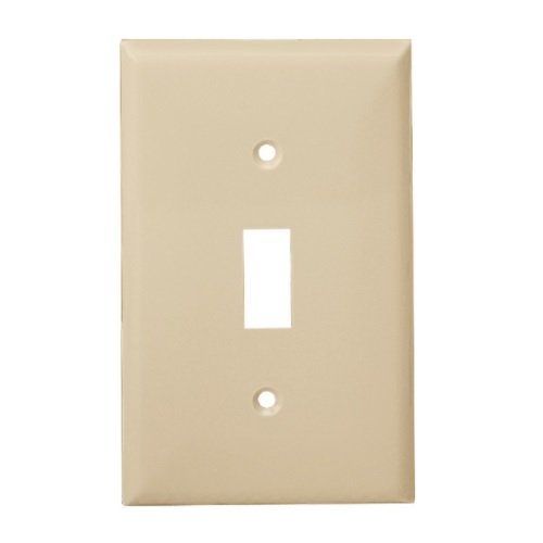Light Almond Mid-Size 1-Gang Toggle Switch Plastic Wall Plates
