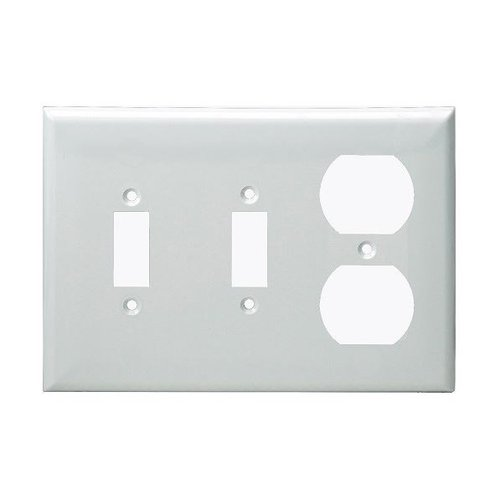White 3-Gang 2-Toggle and Duplex Receptacles Plastic Wall Plates  sc 1 st  HomElectrical.com & Enerlites White 3-Gang 2-Toggle and Duplex Receptacles Plastic Wall ...