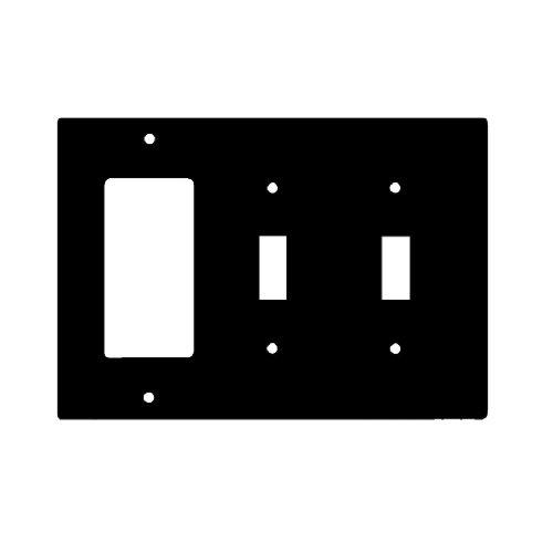 Black Combination 3-Gang 2-Toggle and GFCI Plastic Wall Plates