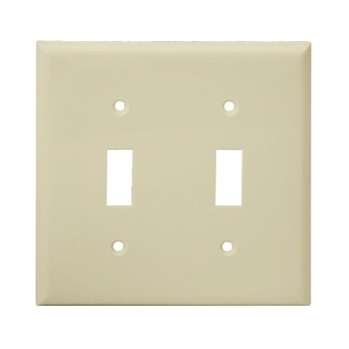 Light Almond 2-Gang Toggle Switch Plastic Wall Plate