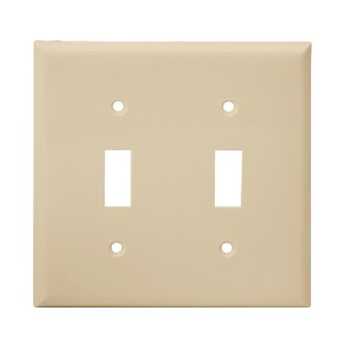 Ivory 2-Gang Mid-Size Toggle Switch Plastic Wall Plate