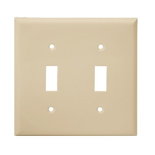 Light Almond 2-Gang Mid-Size Toggle Switch Plastic Wall Plate