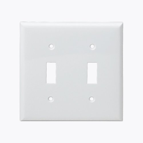 White 2-Gang Mid-Size Toggle Switch Plastic Wall Plate