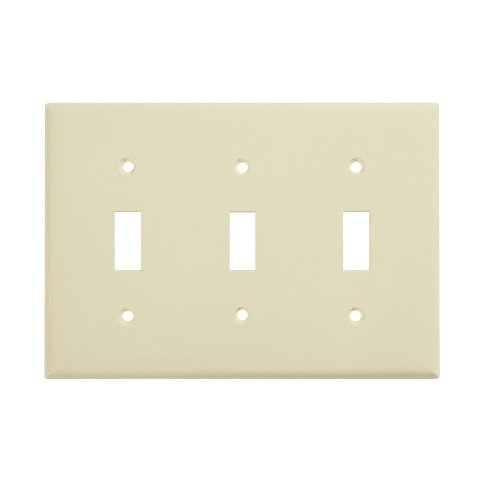 Almond Colored 3-Gang Toggle Switch Plastic Wall Plate