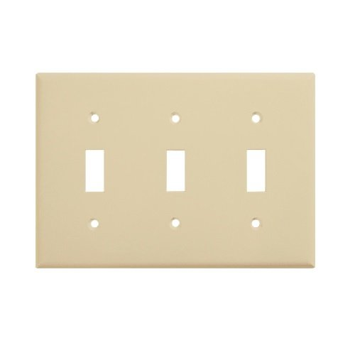 Ivory Mid-Size 3-Gang Toggle Switch Plastic Wall Plate