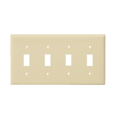 Ivory Mid-Size 4-Gang Toggle Switch Plastic Wall Plate