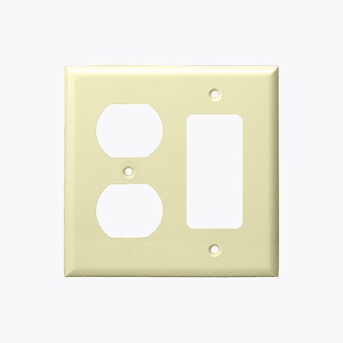 Ivory Mid-Size 2-Gang Duplex Receptacle & GFCI Plastic Wall Plate