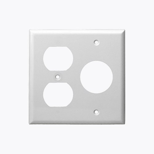 White 2-Gang Duplex & Single Receptacle Combo Plastic Wall Plate